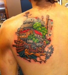 Men's back castle tattoo