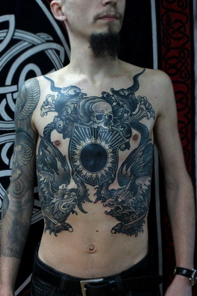 Black cruel skull tattoos