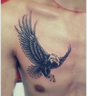 Men's chest eagle tattoo