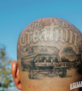 Men's head car tattoo