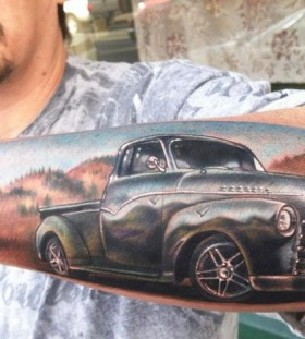 Men's lovely arm's car tattoo