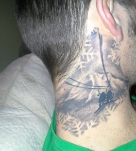 Men's neck skiing tattoo