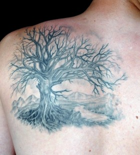 Men's shoulder black tree tattoo