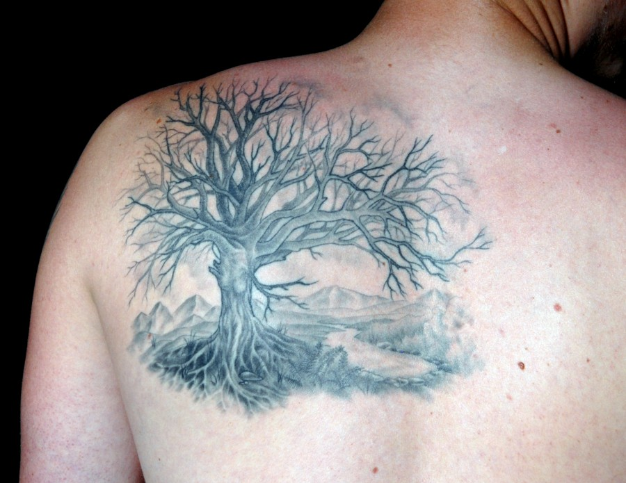 Men's shoulder black tree tattoo