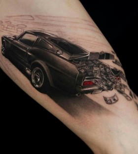 Money and lovely car tattoo