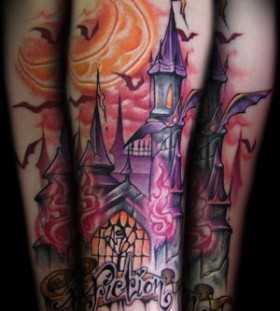 Moon and purple castle tattoo