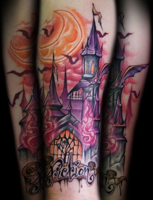 Moon and purple castle tattoo