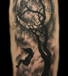 Moon and tree black girls tattoos