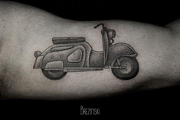 Motorbike black Ilya Brezinski tattoo