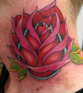 Neck red and pink rose tattoo