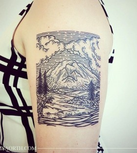 Nice nature picture tattoo by Lisa Orth