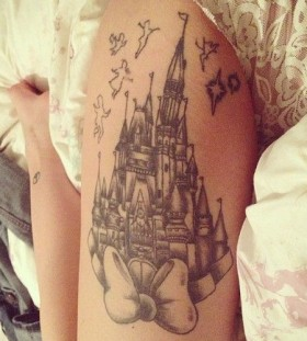 Non color women's castle tattoo