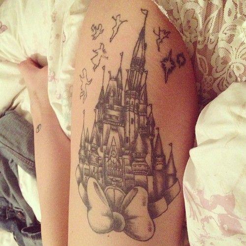 Non color women's castle tattoo