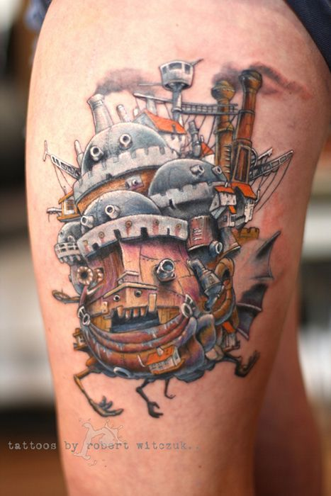 Old style castle tattoo