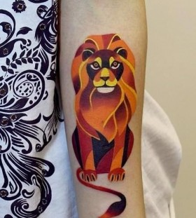 Orange lion inspiring tattoo