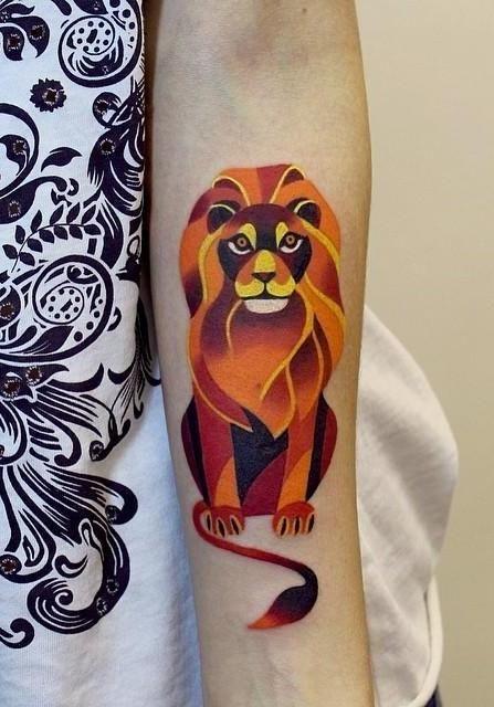Orange lion inspiring tattoo