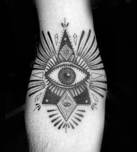Ornamentally black eye tattoo