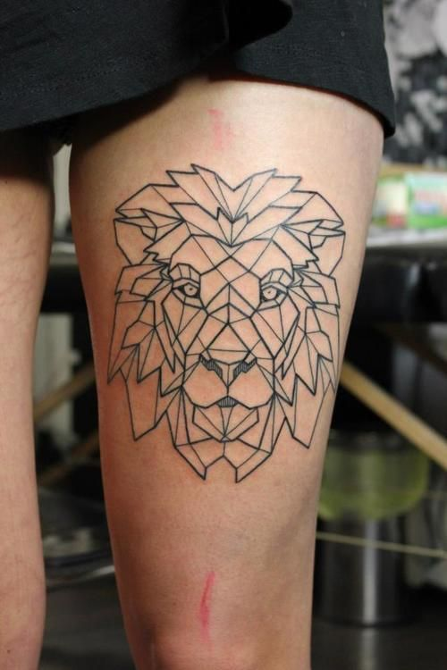 Ornamentally style lion tattoo