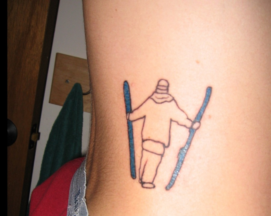 Ornaments of men and skiing tattoo