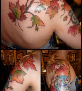 Owl blue autumn colorful tattoo