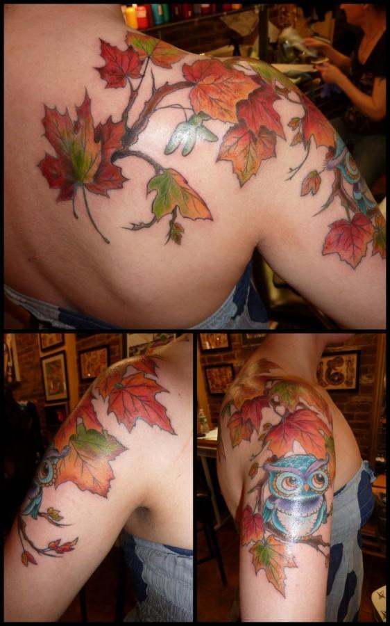 Owl blue autumn colorful tattoo