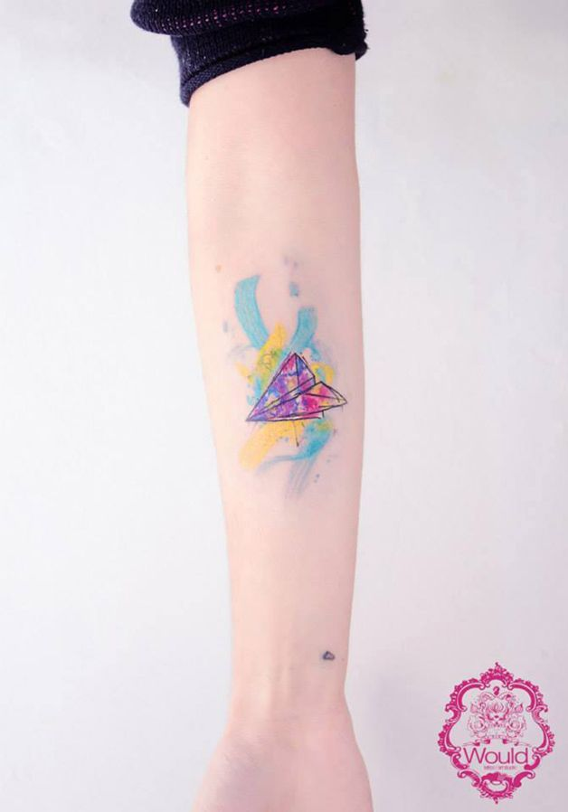 Paper plane tattoo by Candelaria Carballo