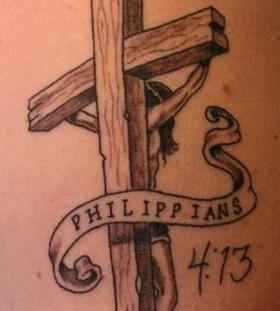 Philippians black cross tattoo