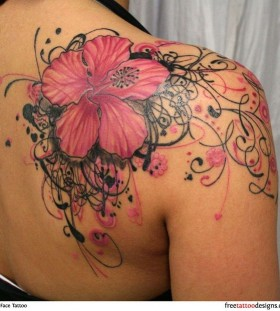 Pink and black shoulder girls tattoos