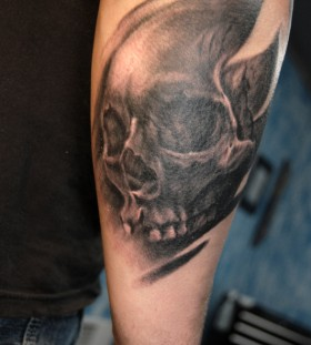 Portrait on arm black skull tattoo