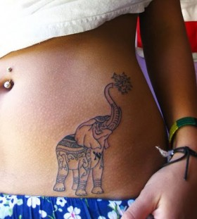Pretty black elephant tattoo