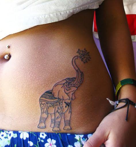 Pretty black elephant tattoo