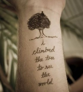 Pretty black tree and quote tattoo