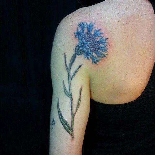 Pretty blue cornflower tattoo