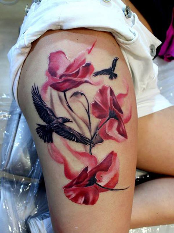 Pretty flowers and eagle tattoo