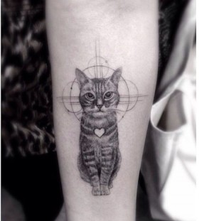 Pretty heart and small cat tattoo