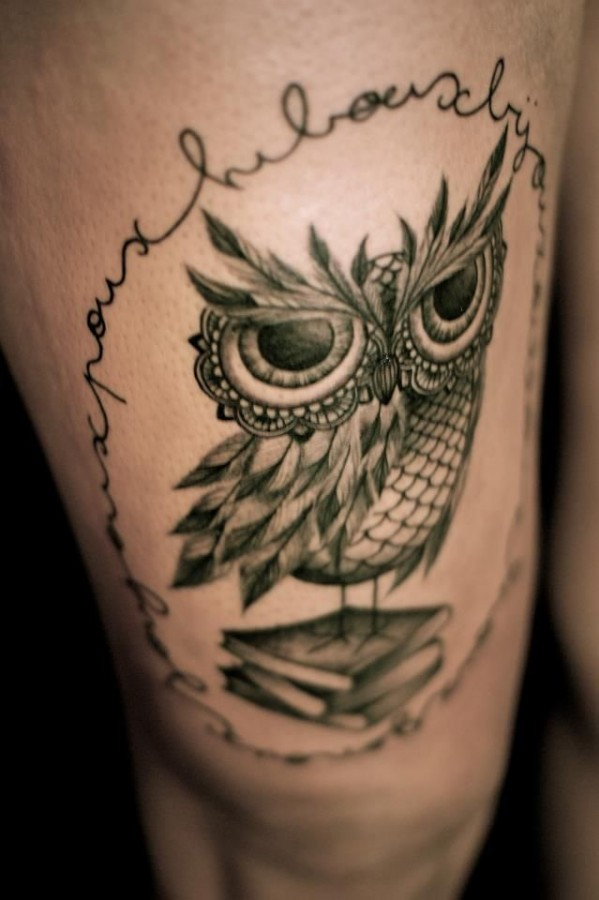Pretty owl and books tattoo by Dodie