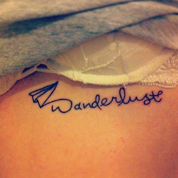 Quote and plane small tattoo