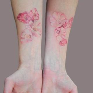 Real painted cornflower tattoo