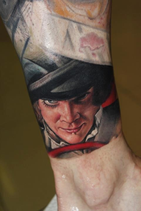 Realistic face tattoo by Victor Chil