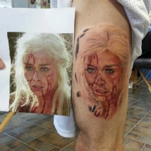 Realistic looking game of thrones tattoo