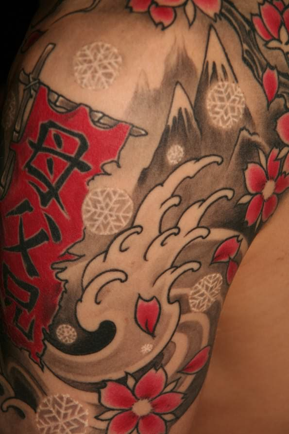 Red Chinese style winter tattoo