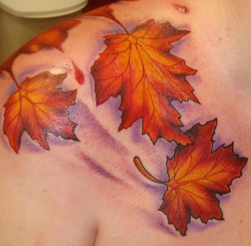 Red and black autumn tattoos