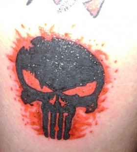Red and black skull tattoo