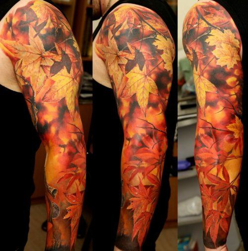 Red and lovely autumn colorful tattoo