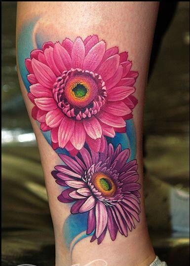 Red and purple cornflower tattoo