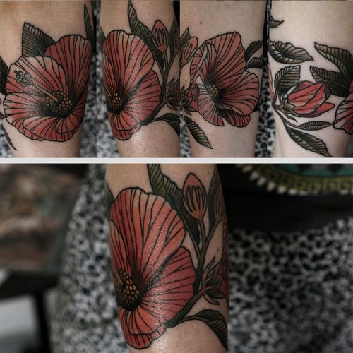 Red flowers picture tattoo
