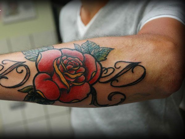 Red letter and rose tattoo TattooMagz