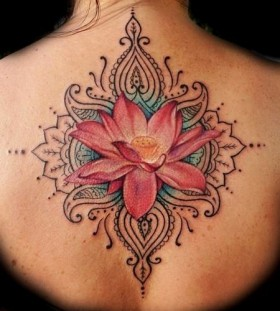 Red ornaments flower back tattoo