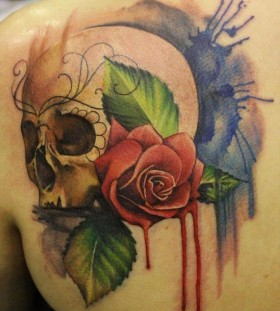 Red rose watercolor skull tattoo