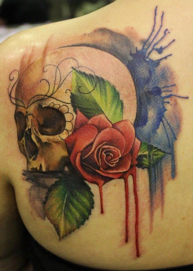 Red rose watercolor skull tattoo
